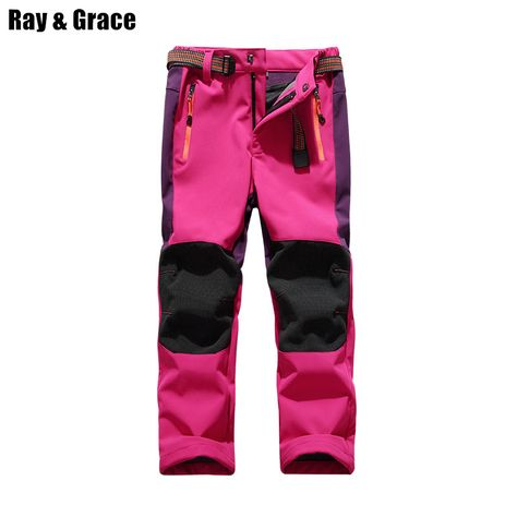 CATERTO Girls//Boys Fleeced Snow Hiking Pants Water Repellent Windproof Outdoor Sports Softshell Winter Pants Rose Red S