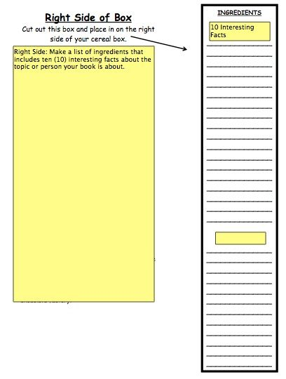 Cereal Box Book Report Template Cereal Box Book Report Box