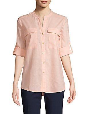 Calvin Klein Linen Roll Tab Blouse Blouse Designs Discount Clothing Clothes