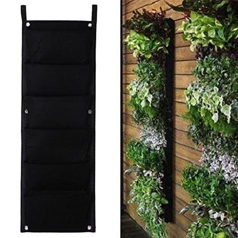 Black 2 poches Horizontales Wall Hanging Planter Sac Extérieur Jardin Pot à herbes