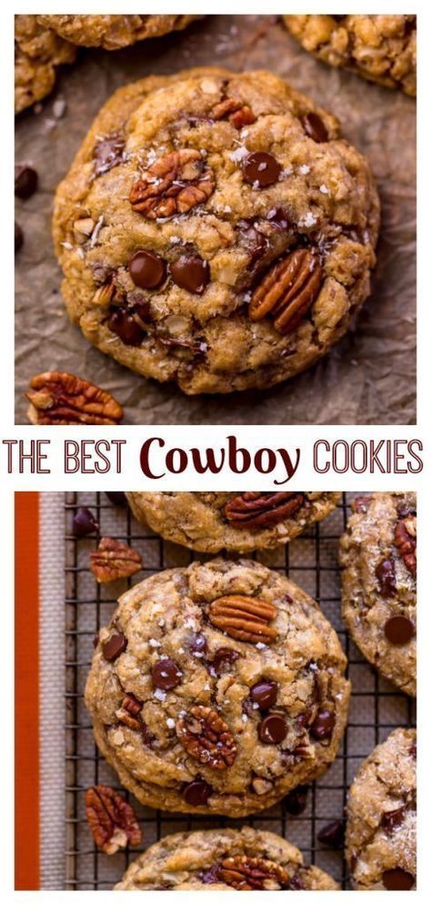 The Best Cowboy Cookies Recipe – Baker by Nature Cowboy Cookies are loaded with coconut, pecans, cinnamon, and chocolate chips! Köstliche Desserts, Delicious Desserts, Dessert Recipes, Yummy Food, Best Cookie Recipes, Sweet Recipes, Baking Recipes, Yummy Cookies, Yummy Treats