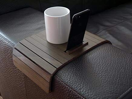 Wooden slinky sofa table for armrest in many colors as cloud grey Small flexible over the couch side tables Narrow folding dining settee arm tray Armchair trays server drink Slim wrap covers furniture
