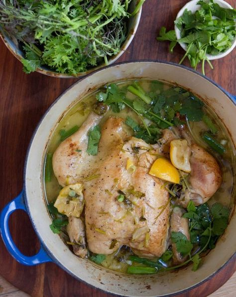Chicken Baked in Coconut Milk with Lemongrass and Cilantro