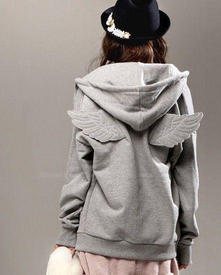 Free Shipping Preppy Stereo Wing Fleece Women's Hoodie