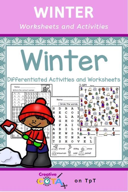 Winter Writing And Math Centers Differentiated Worksheets And