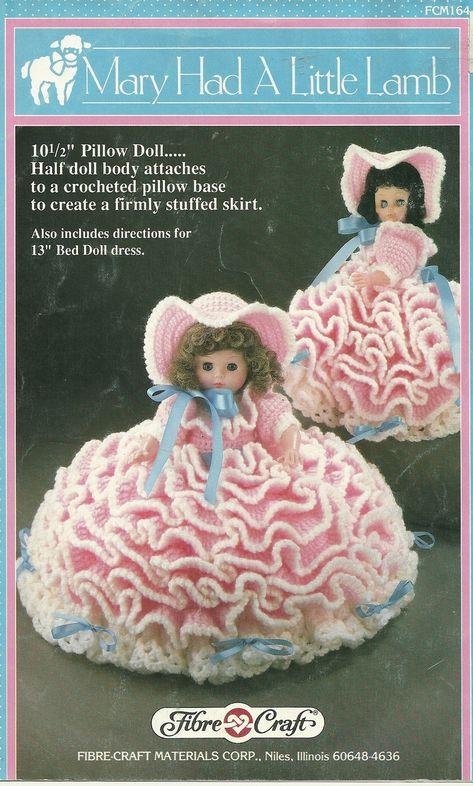 "Crochet Bed Doll Patterns | ... Lamb 13"" Doll Pillow & Bed Doll Dress Crochet patterns - Doll Clothing"