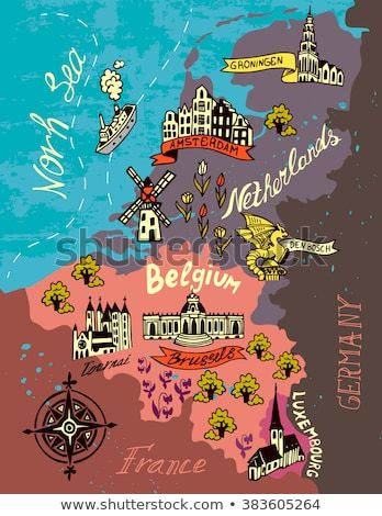 Illustrated Map Of The Netherlands Belgium Luxembourg