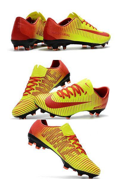 Nike Mercurial Vapor 11 Fg Men Football Cleats Yellow Red Soccer Boots Nike Cleats Football Cleats