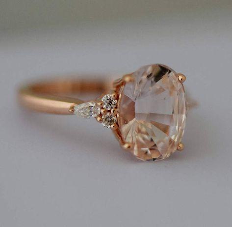 Etsy Peach sapphire engagement ring. Light peach sapphire 3.95ct oval diamond ring 14k Rose gold. Campari