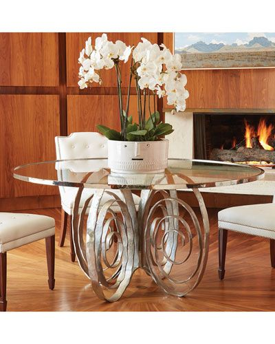 Hbfn7 Global Views Delicate Scroll Glass Top Dining Table Glass