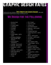 Extensive Graphic Design Price Sheet G D Business Pinterest Cards