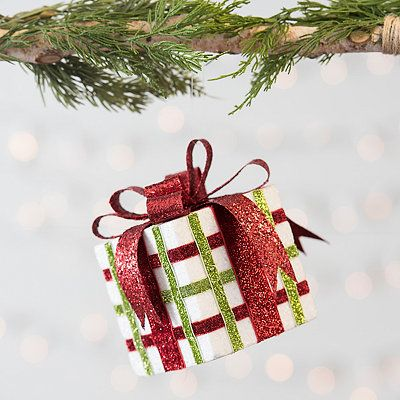 Plaid Glitter Gift Box Ornament In 2020 Glitter Gifts Gift Box Design Christmas Ornaments
