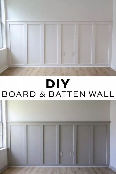 How to easily install a DIY board and batten wall in any room! This budget friendly and simple DIY board and batten accent wall will add instant character to your home! Grey board and batten with whit Home Renovation, Home Remodeling, Architecture Renovation, Bathroom Renovations, Diy Wand, Board And Batten, Diy Interior, Interior Modern, Diy Home Improvement