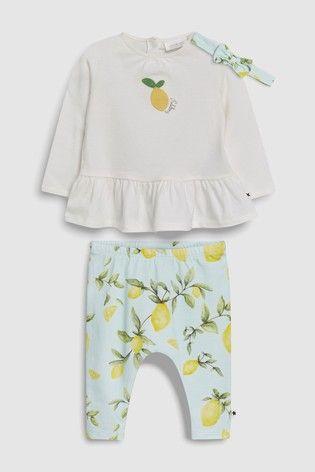 e772e38921f White/Green Lemon T-Shirt, Leggings And Headband Set (0mths-2yrs ...
