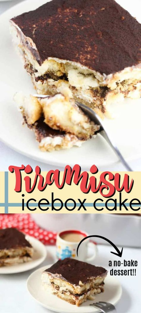 This no-bake Tiramisu Icebox Cake comes together in minutes and is the perfect dessert with a cup of coffee or after a traditional Italian meal. #tiramisu #iceboxcake #refrigeratorcake #tiramisudessert #dessertrecipes #dessert #coffee #espresso #cocoa #italiandesserts #amandascookin
