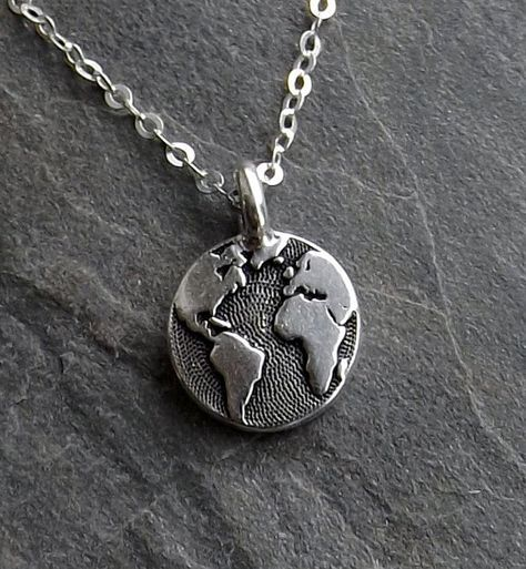 Tiny Earth necklace / Silver Earth necklace / Small Silver Globe necklace / Graduation Gift / Travel