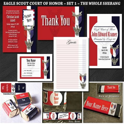 Custom Eagle Scout Court of Honor Set 1:  The Whole Shebang- Invites, Programs, Thank You, Nugget Wrappers, Water Bottles, Thank You, RSVP