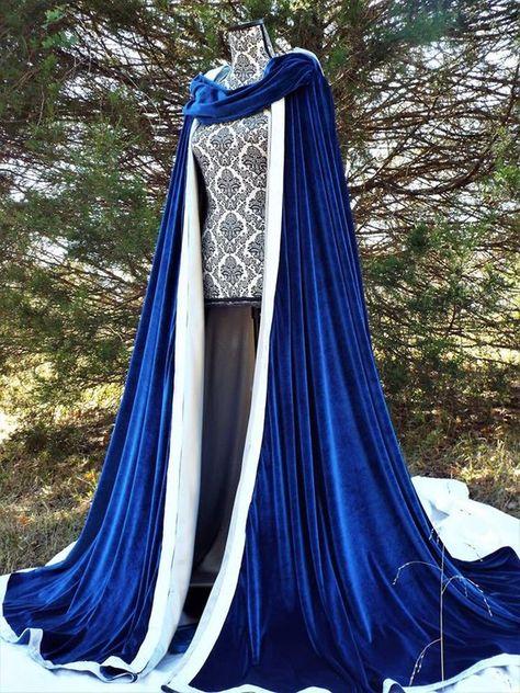Pretty Outfits, Pretty Dresses, Beautiful Dresses, Bridal Cape, Blue Bridal, Capes, Fantasy Gowns, Medieval Dress, Kawaii Clothes