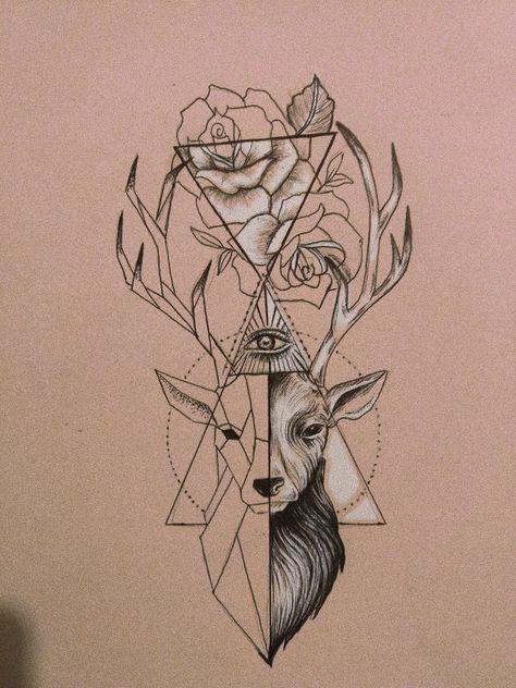 Desenho cervo geométrico, rosa, triângulo 🌹