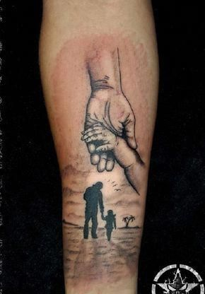 Holding Hands Tattoo Relive The Moment When You First Held The Hand Of Your Child By Getting This Tattoos For Daughters Father Daughter Tattoos Father Tattoos