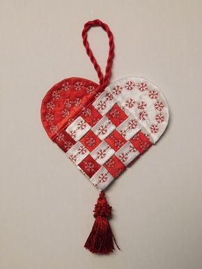 How To Make A Fabric Scandinavian Heart Weallsew Fabric Christmas Ornaments Fabric Origami Fabric Ornaments