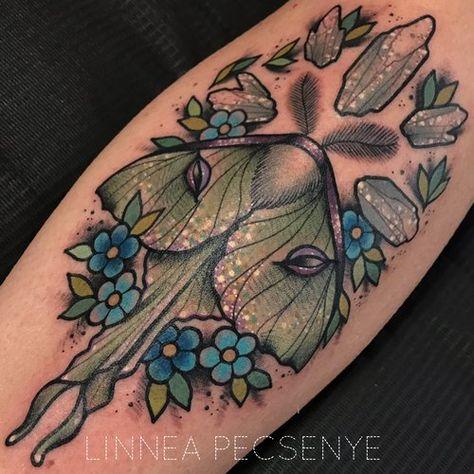 Luna Moth Tattoo Design Mandala Henna Moon Dotwork Glorious Luna Moth Tattoo