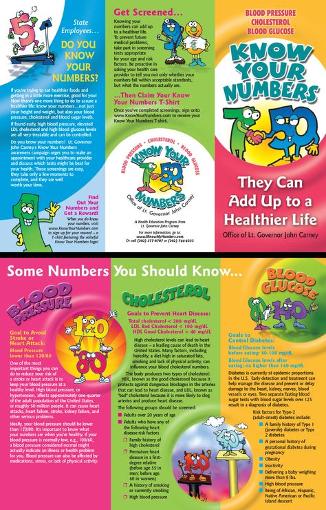 Know Your Numbers tri-fold rack brochure designed, developed and - diabetes brochure template