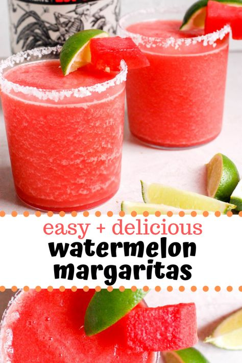 Easy watermelon margarita recipe that can be served frozen or on the rocks! This skinny margarita is made with fresh fruit & is perfect to make for a crowd! Frozen Watermelon Margarita, Frozen Margaritas, Frozen Drinks, Watermelon Recipes, Frozen Watermelon Drink, Watermelon Alcoholic Drinks, Watermelon Tequila, Pineapple Juice, Pineapple Margarita
