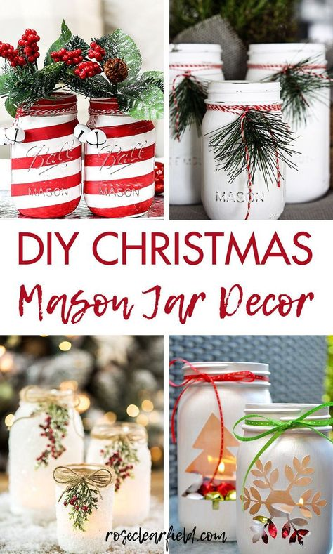 Easy holiday decorating ideas to create a cheery,… DIY Christmas mason jar decor. Easy holiday decorating ideas to create a cheery, festive home! Diy Gifts For Christmas, Diy Christmas Lights, Christmas Jars, Holiday Crafts, Mason Jar Christmas Decorations, Holiday Ideas, Diy Christmas Projects, Christmas Decoration Crafts, Christmas Time