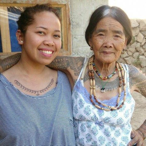 Weyn and Wang-Od at #Buscalan #Kalinga #WangOd is a 96-year old woman and the only remaining legit #mambabatok in her tribe. #TraditionalTattoo #Philippines #Art The tattoo she created was actually on my back. She passed the art of hand-tapped tattoo to her niece, Grace, who created the one on my chest. I can tell that she's very proud of her successor's work. #Filipinotattoos #filipinotattoosdesigns