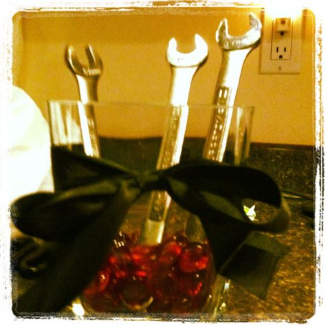 center piece for husband graduation party from automotive school – Food: Veggie tables
