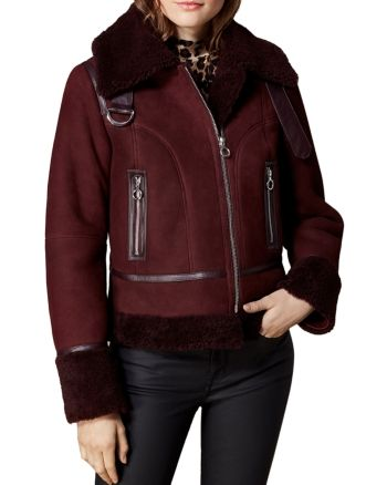 attractive price good quality on feet images of Karen Millen Shearling Aviator Jacket - Burgundy | Products ...