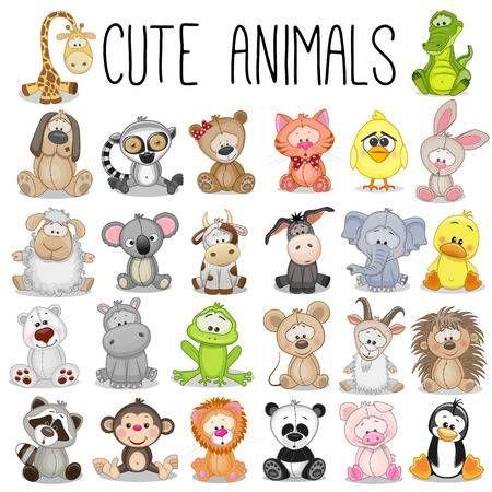 Conjunto De Animales Divertidos Sobre Un Fondo Blanco Cute Animals Cute Drawings Animal Clipart