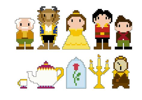 Beauty and the Beast Pixel People Character PDF pattern by CheekySharkLabs