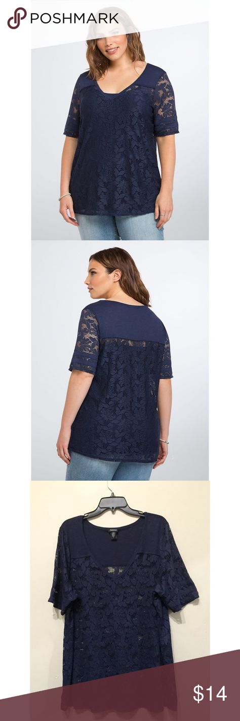 Lace Football Top Gorgeous navy lace football v neck top. Worn a couple of times. torrid Tops Tees - Short Sleeve
