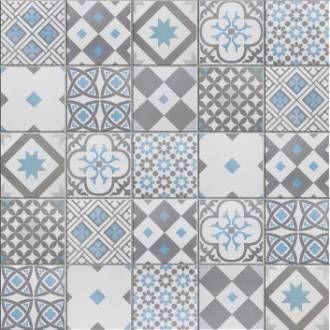 Carrelage sol et mur gris foncé bleu baltique effet ciment ...
