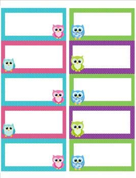 Owl Theme Blank File Folder Label Template FREEBIE Http - Cubby name tag template