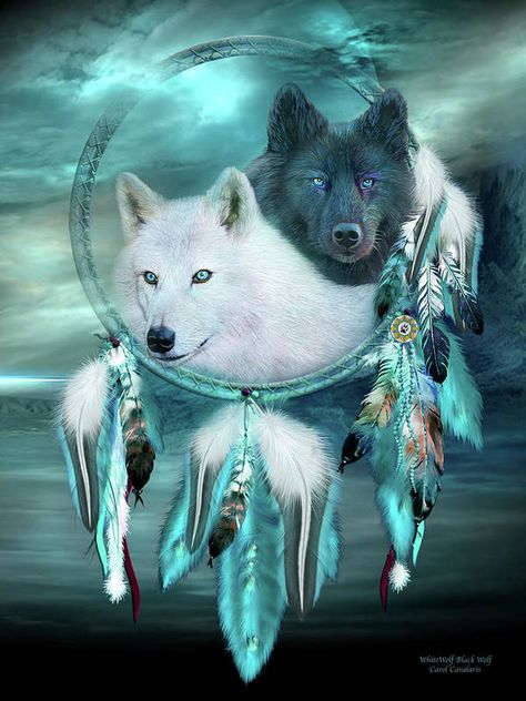 SMALL Details about  /DREAMCATCHER INDIAN WITH PICTURE OF WOLVES WOLF MOON WINTER 2 RINGS CR29