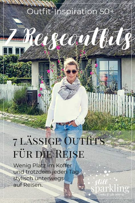 Auch mit wenig Platz im Koffer stylish unterwegs sein. Das geht. #ripped Jeans #Reiseoutfits #Outfitidee #casual #ü50