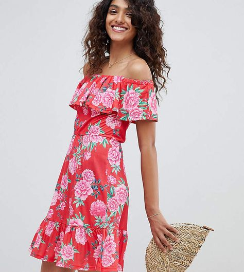 3c600184946 ASOS Tall ASOS DESIGN Tall off shoulder sundress with tiered skirt in floral  print