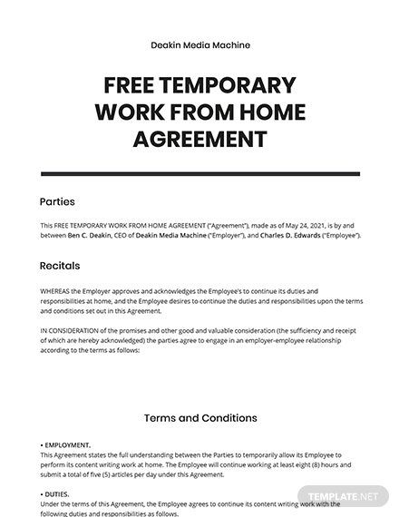 11 Free Short Agreement Templates Edit Download Template Net Temporary Work Agreement Writing A Book