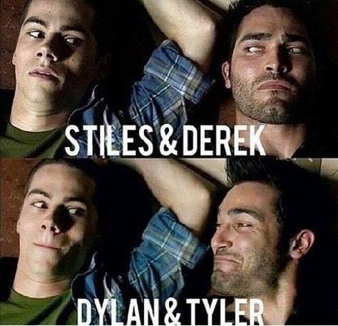 Teen Wolf ~ Stiles and Derek ~ Dylan and Derek Teen Wolf, Teen Wolf Stiles, Teen Wolf Boys, Teen Wolf Dylan, Stiles Derek, Teen Wolf Mtv, Teen Wolf Memes, Teen Wolf Quotes, Teen Wolf Funny