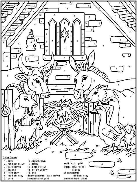 Color By Number 48 Nativity Coloring Pages Christmas Coloring Pages Christian Coloring