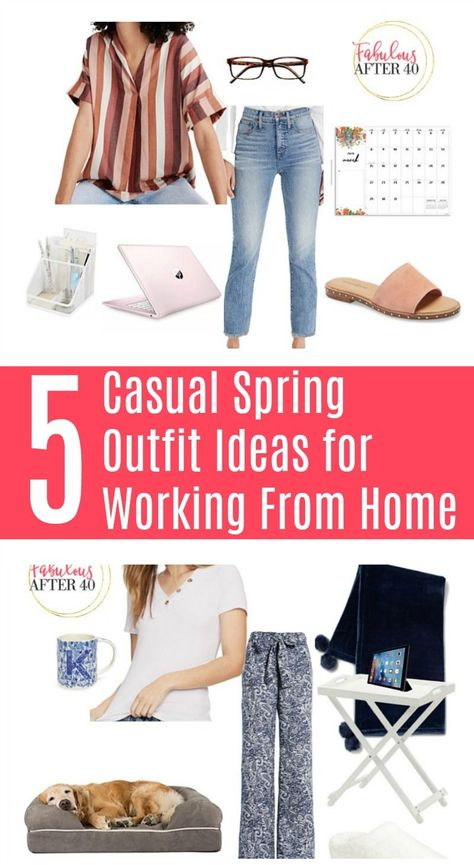 Here are ideas of what to wear when you're working from home.  #womensfashion #over40 #workfromhome #outfitideas
