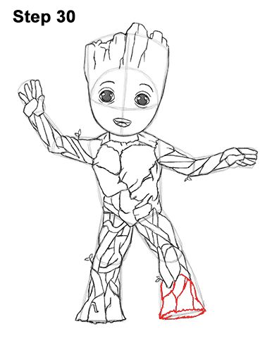 How To Draw Baby Groot Baby Groot Drawing Marvel Coloring Baby