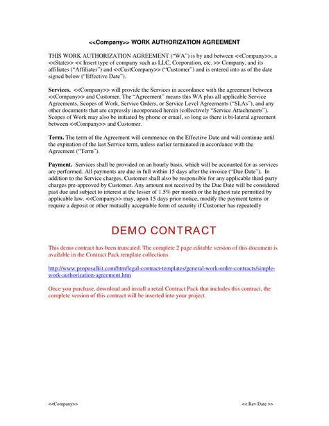 Simple Work Authorization Agreement - The Simple Work - freelance contract agreement