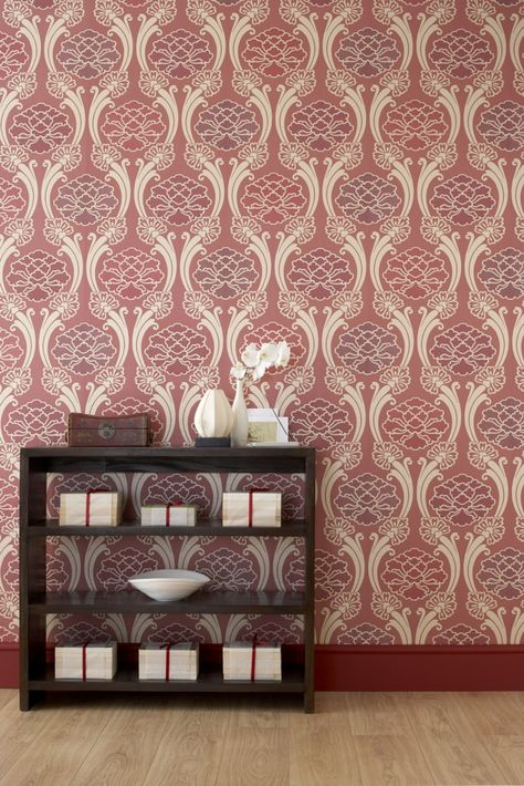 moderne tapeten rot beige kombination wandgestaltung Pinterest
