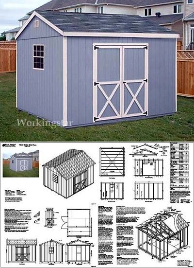 10 X 12 Gable Style Storage Shed Plans Building Blueprints Guides E1012 Ebay Shed Shed Plans Building A Shed