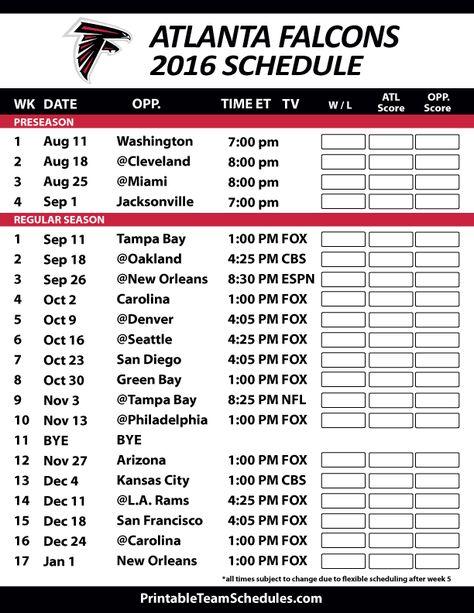 Atlanta Falcons Football Schedule. Print Schedule Here - http://printableteamschedules.com/NFL/atlantafalconsschedule.php