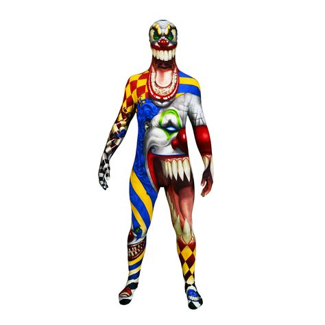 SCARY CLOWN Scary Holloween fancy dress Costume Morphsuit ZOMBIE